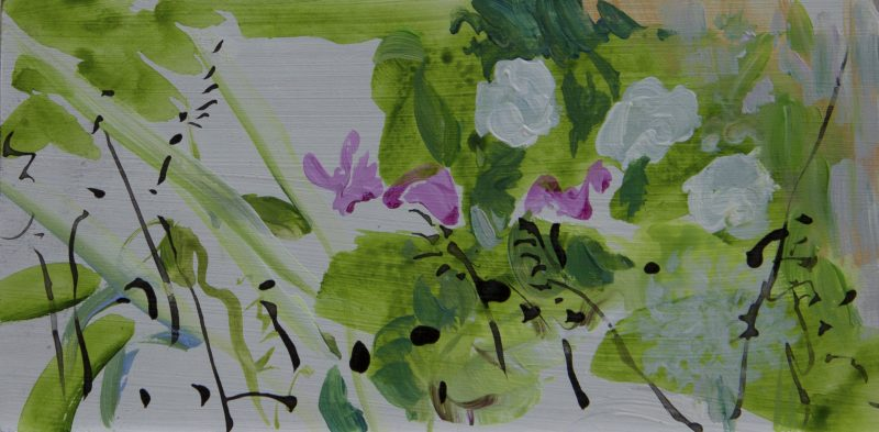 006 'Garden Calligraphy' Mixed Media On Board 22 X 11 Cm Alison Critchlow 2018