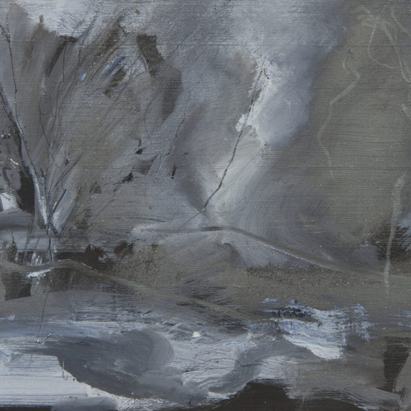 008 'Night Drawing, Dove Cottage Garden' 40 X24 Cm Oil  And Graphite On Wood. Alison Critchlow 2018