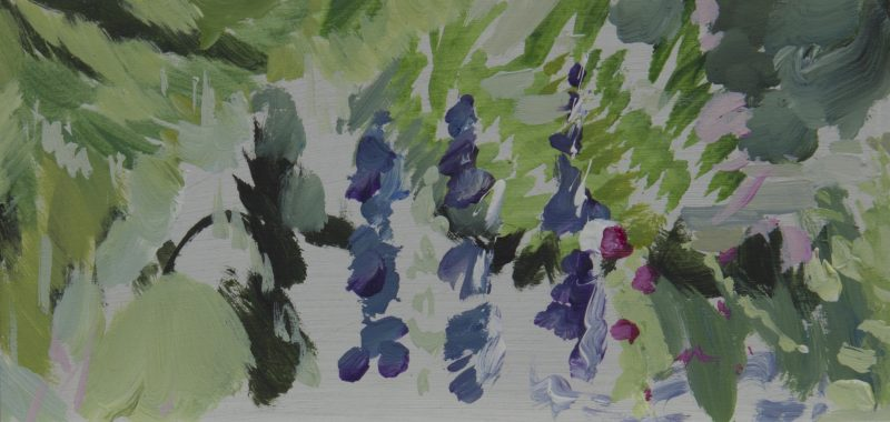 008 'Wind, Dove Cottage Garden''22 X 11 Cm Mixed Media On Board Alison Critchlow 2018