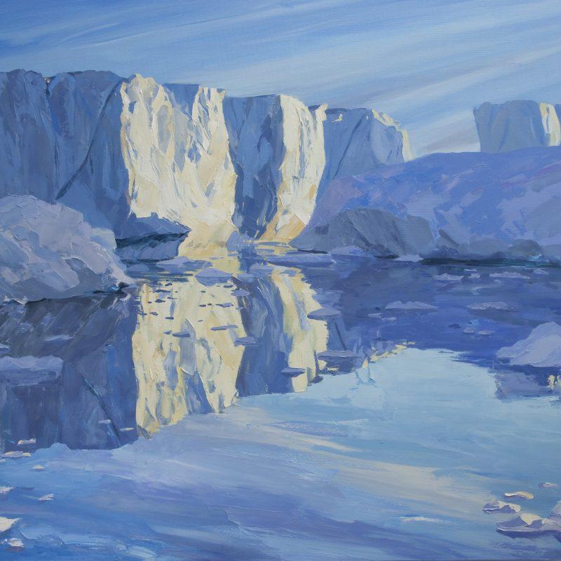 003 'Icebergs, Midnight Sun' Oil On Canvas 120 X120 Cm 2010