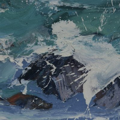 003 'Rhythmn Of The Rocks'' Oil On Board 45 X 24 Cm 2017 Alison Critchlow