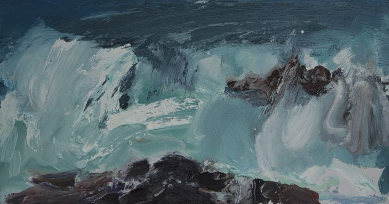 007 'Wave' Oil On Board 45 X 24 Cm 2017 Alison Critchlow