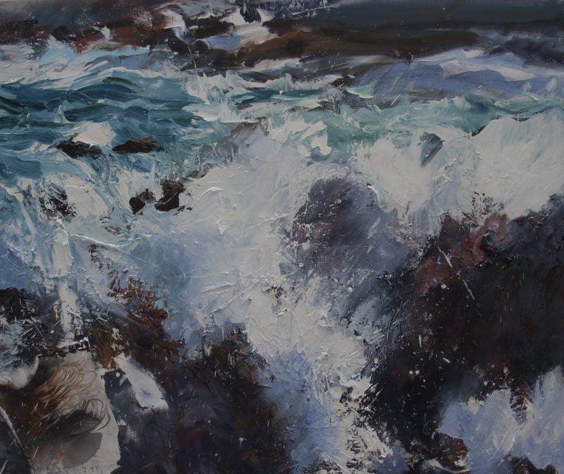 009'Saligo Bay' Oil And Collageon Canvas,2020 Alison Critchlow