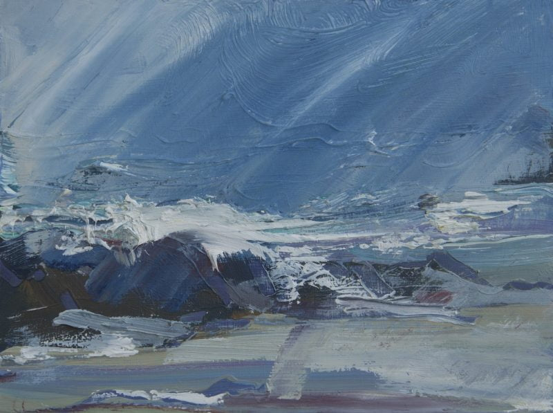 010 'Wild Sea, Balevullin' Oil On Board 20 X15 Cm 2020 Alison Critchlow