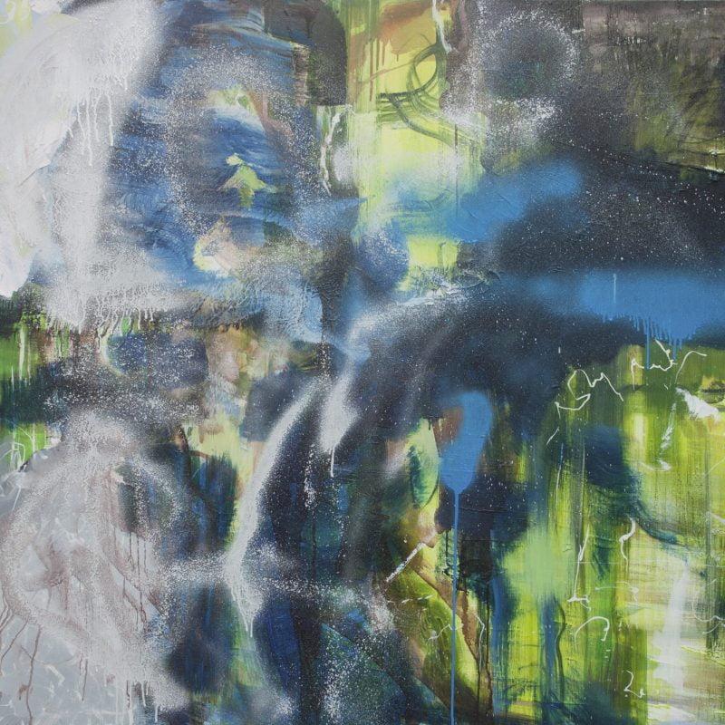 021 'Passing Through' Oil, Acrylic And Spray Paint On Canvas 150 X 100 X 4 Cm